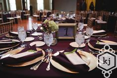 wedding table decor with purple linen & gold accents, floral by posh petals, www.eventfullplanning.com, photo by kelley jordan photography
