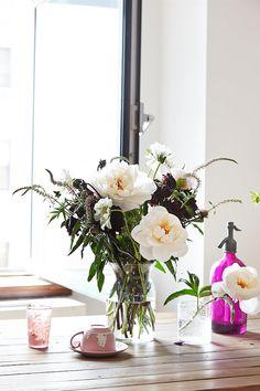 Striking combination: white peonies, burgundy dahlias, and purple filler flowers