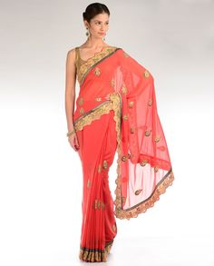 Red Sari with Gota Embellished Border