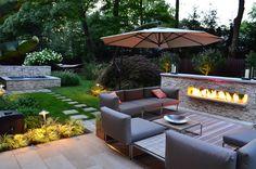 LUXURY FIREPLACES   Luxury Modern Backyard Sitting Area Modern Outdoor Fireplace Designs
