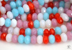 NEW! 20 Mixed Candy Opal Czech Rondelle Glass Beads. Starting at $5 on Tophatter.com!