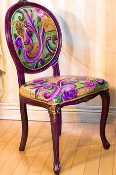 Painted Chair by Jane Hall Painted Chairs, Hand Painted Furniture, Funky Furniture, Upholstered Furniture, Unique Furniture, Repurposed Furniture, Furniture Makeover, Furniture Design, Furniture Makers
