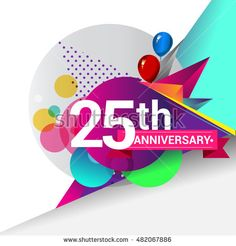 25th Anniversary logo, Colorful geometric background vector design template elements for your birthday celebration.