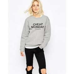 Cheap Monday Embroidered Logo Sweatshirt (615 SEK) ❤ liked on Polyvore featuring tops, hoodies, sweatshirts, grey, oversized crew neck sweatshirt, grey crew neck sweatshirt, sweat shirts, gray crewneck sweatshirt and gray sweatshirt