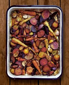 The addition of fruit vinegar to a pan of roasted vegetables gives them a little extra something. The bright colour and sweet-and- sour tang are a feast for the eyes and the taste buds alike. You can mix and match with other vegetables such as fennel or sweet potato, and serve on its own or