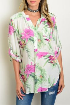 Ultra soft lightweight flowy blouse in the beloved palm leaf and floral print.   Palm Floral Blouse by Depri. Clothing - Tops - Blouses & Shirts Nashville, Tennessee