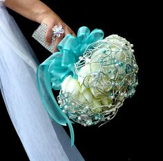 Bridal bouquet Tulips turquoise and boutonniere by wandadesign, €140.00