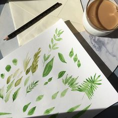 marinamuse @marinamusestudio graphic design #botanical #leaves #watercolor #illustrator Morning Ritual, Illustrator, Leaves, Watercolor, Graphic Design, Painting, Instagram, Home Decor, Pen And Wash