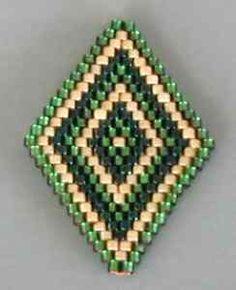 BRINCOS - Padrão com 3 cores - Ponto Tijolo (Brick Stitch) (Puntada Comanche) - loja abalorios.net