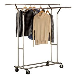 DecoBros Supreme Commercial Grade Double Rail Garment Rolling Rack, Chrome Finish: Deco Brothers High Quality Commercial Grade Garment Rack is a durable and simple elegant product Rolling Clothes Rack, Rolling Rack, Clothes Drying Racks, Clothes Hanger, Hangers, Portable Clothes Rack, Retail Clothing Racks, Garment Racks, Hanging Storage