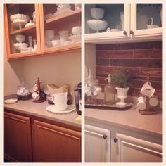Before and after of a standard boring butlers pantry painted and brought back to life with Annie sloan Chalkpaint pure white and duck egg inside and a pallet wall built to perfection and assembled by Art by kelly.