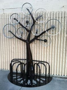 sculpture idea - bike rim tree