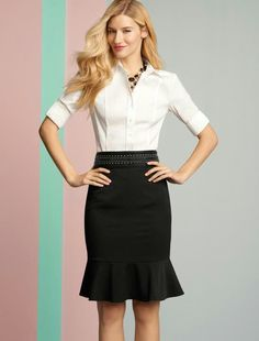 Like the black skirt with the ruffle at the bottom. This one may be a little too fitted/hourglass for my style/comfort.