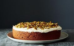 Pumpkin Cake with Cream Cheese Icing and Caramelized Pumpkin Seeds Recipe