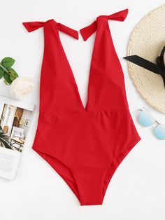 Shop Plus Tie Shoulder Double Plunge One Piece Swimsuit online. SHEIN offers Plus Tie Shoulder Double Plunge One Piece Swimsuit & more to fit your fashionable needs. Summer Outfits, Cute Outfits, Plunging One Piece Swimsuit, One Piece Swimwear, Beachwear For Women, The Bikini, Monokini, Romwe, Nylons