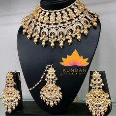 Sabyasachi Bridal Set Gold Plated Item Includes 1 Necklace 1 Tikka 2 Earrings *Please contact us for custom colors or to add additional jewelry pieces to this order