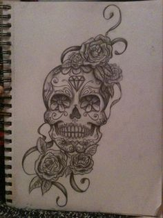 sugar skull tattoo with roses would have to be colour though