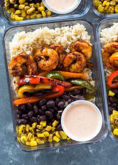 Meal-prep Shrimp Burrito Bowls With Shrimp, Veggies, Shrimp, Shrimp Burrito Bowl Recipe, Burrito Bowl Meal Prep, Lunch Meal Prep, Meal Prep Bowls, Easy Meal Prep, Healthy Meal Prep, Burrito Bowls, Easy Meals, Healthy Recipes