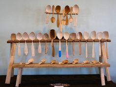 Spent the morning messing around with my craft fair booth layout. This is how most of my spoons are displayed. Currently building shelves for bowls and shrink pots. #spoons #wood #craft #display #visual #visualmerchandising #spooncarving #woodworking #utensils #natural #naturalmaterials #nature #handmade #realcraft #smallbusiness #display #kitchen #cooking #foodie #wooden #handcrafted #carving