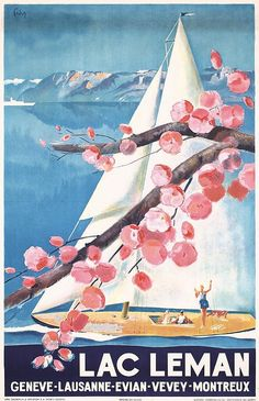 Vintage Travel Poster - Lac Leman - Switzerland - by Henri Fehr - 1936.