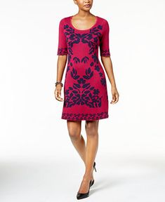 Ny Collection Floral-Jacquard Sweater Dress - Purple S Ny Collection, Review Dresses, Purple Dress, Dresses Online, Summer Dresses, Floral, Sweaters, Shopping, Silhouette