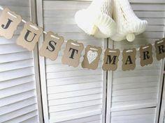 Just Married Banner - wedding banner - rustic chic wedding - kraft banner. $21.00, via Etsy.