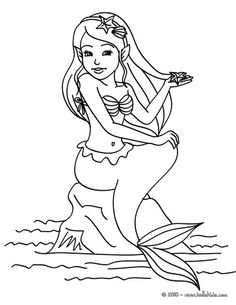 Mermaid seated coloring page - can color online