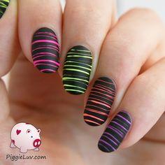 PiggieLuv: Video tutorial: neon sugar spun nail art