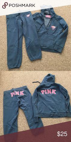 "Bundle sale - Victoria Secret sweat set Victoria Secret sweat set. Cropped pants with inseam of about 25"" size M. Sweatshirt hoodie is size L. PINK Victoria's Secret Pants Track Pants & Joggers"