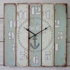 Large Shabby Chic Rustic Vintage Style Blue White Wooden Wall Clock At The Beach | eBay
