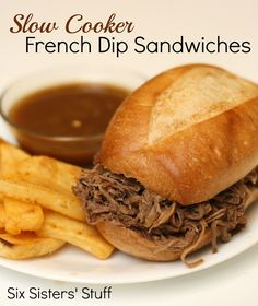 Slow Cooker French Dip Sandwiches- only 3 ingredients! Perfect for large groups and parties. SixSistersStuff.com #crockpot