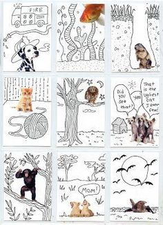 ATCs with magazine cut outs and Line Art - Art Projects for Kids