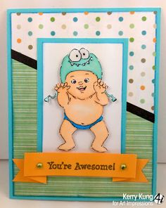 Little Monster (Sku#4320) Ai Little People.  Art Impressions babies.  Baby Boy card.