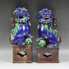Pair Chinese Antique Porcelain Lions: of royal blue glazed ground, Minguo period