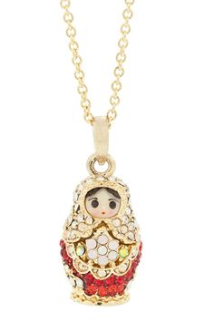 Andrew Hamilton Crawford Small Mamuska Necklace In Gold And Red ~ a nesting doll necklace!