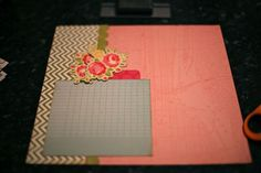 Before (March 19, 2012). Choose a 12×12 single-coloured PP for the background, then cut a 4×12 strip of a double-sided paper. From that, use a border punch and cut that strip apart – so the designs from both sides of the paper are on show on the left side of the page. Then a box just slightly smaller than 6×6 (I picked something with lines here so I could use that for the writing, but in the end I placed it elsewhere) and a die-cut or something cut from patterned paper.