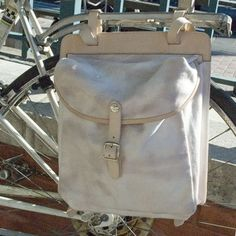 3-way pannier bag in denim and leather