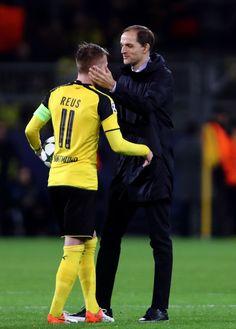 Marco Reus of Borussia Dortmund is congratulated by Thomas Tuchel manager of Borussia Dortmund during the UEFA Champions League Group F match between Borussia Dortmund and Legia Warszawa at Signal Iduna Park on November 22, 2016 in Dortmund, North Rhine-Westphalia.