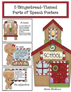 Gingerbread activities:  5, FREE gingerbread-themed, parts of speech posters.  Quick, easy & fun way to review.