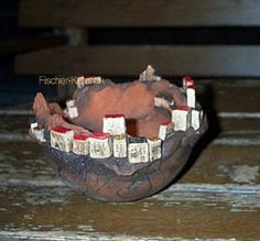Häuserschale Bergdorf Projects For Kids, Decoration, Pottery, Clay, Rustic, Pictures, Crafts, Pots, Design