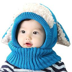 Amazon.com  Crazy Genie Unisex-baby Toddler Winter Beanie Warm Hat Hooded  Scarf Earflap Knitted Cap Girls Boys (Blue)  Clothing b410f9d722da