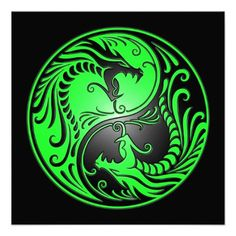 Yin Yang Dragons, green and black Personalized Announcements