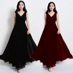Fashion Ladies Women Elegant Chiffon V-Neck Sleeveless High Waist Maxi Dress Summer Beach Wear