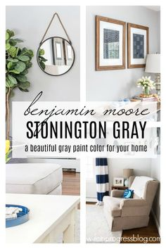 Favorite Paint Colors: Benjamin Moore Stonington Gray Stonington Gray by Benjamin Moore - it's undertones, color combinations that work with it and photos of this paint color in real living rooms and bedrooms Grey Paint Colors, Bedroom Paint Colors, Interior Paint Colors, Paint Colors For Living Room, Paint Colors For Home, Living Room Grey, Gray Paint, Interior Plants, Interior Ideas