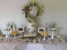 Shabby Chic White Lace First Communion Celebration | CatchMyParty.com