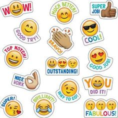 Students will love these Emoji stickers! Sweet and silly emoji faces along with their rewarding phrases will encourage children with social media and digital style. Approximately x 75 stickers per pack, bundle of 12 packs, 900 stickers total Teacher Stickers, Reward Stickers, Emoji Stickers, Classroom Rules, Classroom Displays, Classroom Themes, Colegio Ideas, Class Birthdays, Student Rewards