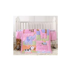 """awesome 517A0CT6b0L 🐘Materials - Choose high-quality polyester, durable, breathable, and comfortable. Machine washable, tumble dry low, no fade and shrink. 🐘3-Piece Bedding Set: 1*Quilt 84x107 cm (33"""" x 42""""), 1*fitted sheet 130*70+20 cm (51"""" x 27.5""""+7.87""""), 1*bed skirt 130*70*25 cm (51"""" x 27.5""""+9.84""""). Please note that there is no bumper pad. 🐘Design: Pink crib bedding for baby girls... Baby Girl Crib Bedding, Nursery Crib, Baby Bedding Sets, Crib Sets, Baby Cribs, Pink Animals, Fantastic Baby, 3 Piece, Baby Shower Gifts"""