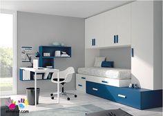 Dormitorio con cama Bloc con cajones apilables