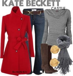 "Stana Katic as Kate Beckett on ""Castle"". I don't watch castle, but I like this outfit"