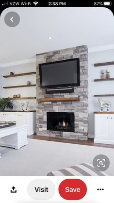 Family room Awesome Dry Stacked Stone Fireplace Ideas - The Urban Interior Grey Stone Fireplace, Stacked Stone Fireplaces, Fireplace Tv Wall, Fireplace Built Ins, Fireplace Remodel, Living Room With Fireplace, Fireplace Surrounds, Fireplace Design, Fireplace Ideas